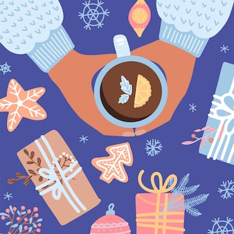 Ilustração com uma xícara de chá, biscoito, caixas de presente, comida de natal. estilo retrô. design plano vista superior. clima aconchegante de natal.