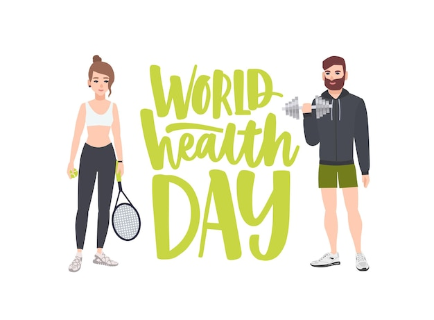 Ilustração comemorativa do dia mundial da saúde com pessoas praticando exercícios físicos