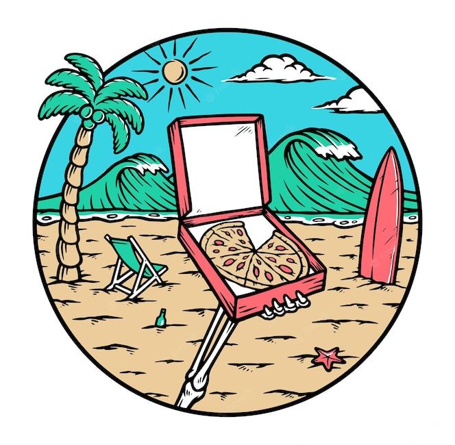 Ilustração comendo pizza na praia