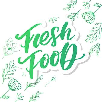 Ilustração, comida. letras de mão para restaurante, menu de café, fazenda e loja. elementos para etiquetas, logotipos, emblemas, adesivos ou ícones. coleção caligráfica e tipográfica. comida fresca
