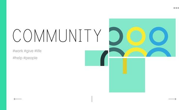 Ilustração, comunidade, conceito