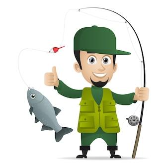 Ilustração, conceito alegre pescador segurando vara de pescar, formato eps 10