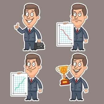 Ilustração, conceito de adesivos de empresário divertido conjunto 5, formato eps 10