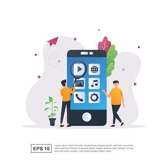 Ilustração conceito de aplicativo móvel com pessoas que escolhem um aplicativo para usar.