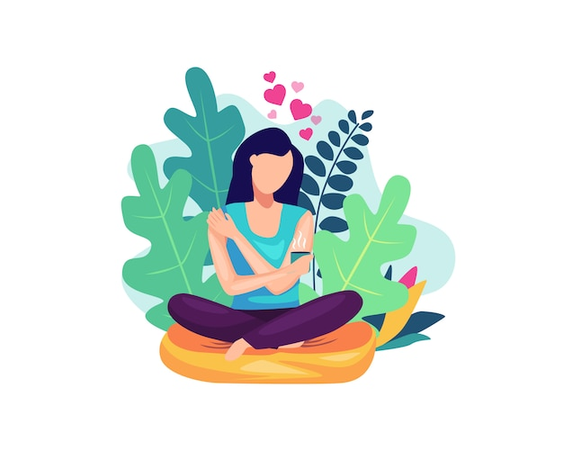 Ilustração conceito de auto-cuidado