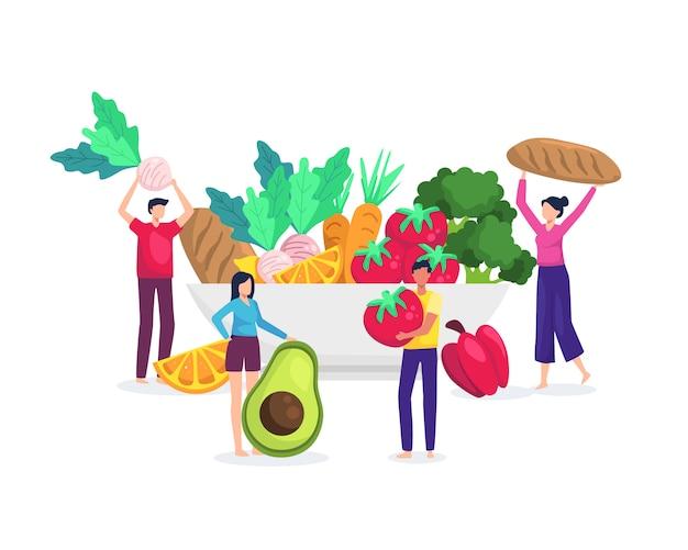 Ilustração conceito de comida saudável