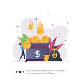 Ilustração conceito de crowdfunding com muitas moedas no frasco.