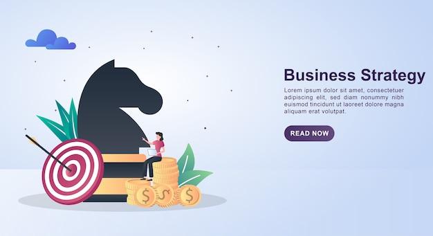 Ilustração conceito de estratégia de negócios com peças de xadrez e alvo.