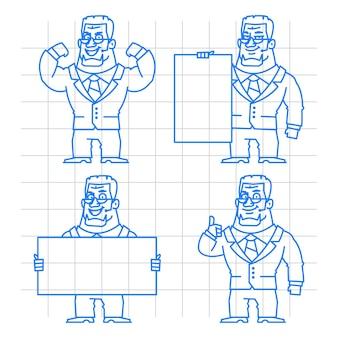 Ilustração, conceito de guarda doodle conjunto 1, formato eps 10