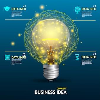 Ilustração conceito de ideia de negócio, lâmpada iluminada