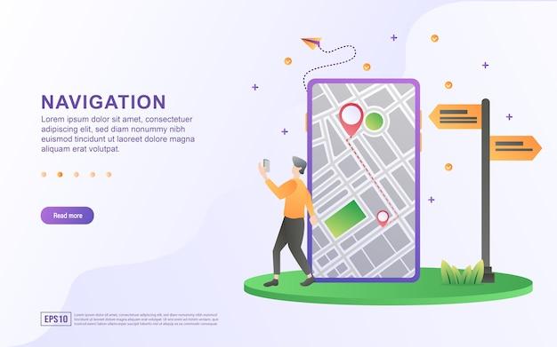 Ilustração conceito de navegação com uma pessoa caminhando enquanto segura um telefone celular.