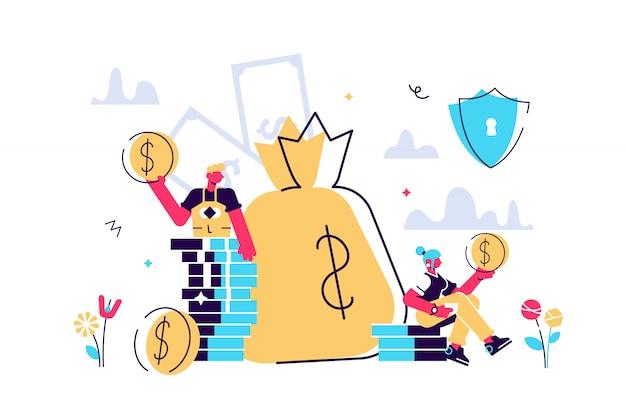 Ilustração, conceito de proteção de dinheiro, seguro de poupança financeira, economia empresarial segura.