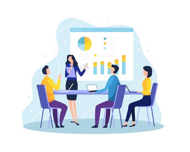 Ilustração conceito de reunião e trabalho em equipe