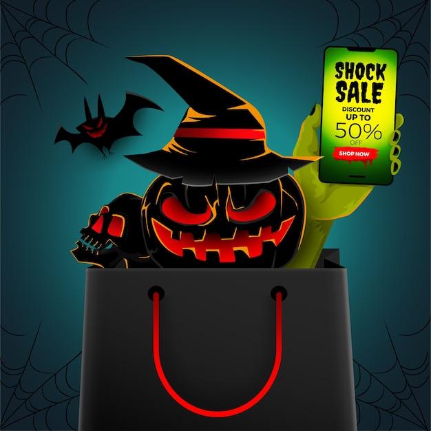 Ilustração conceito venda de halloween