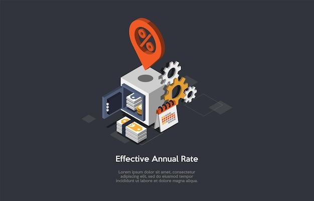 Ilustração conceitual da taxa anual efetiva no estilo dos desenhos animados 3d.