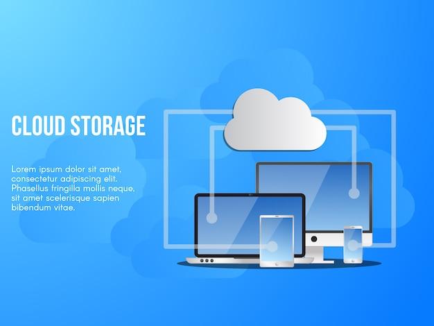 Ilustração conceitual de armazenamento em nuvem