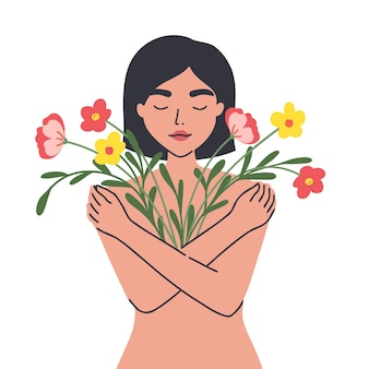 Ilustração conceitual de mentalidade mulher se abraçando com amor e compaixão corpo feminino