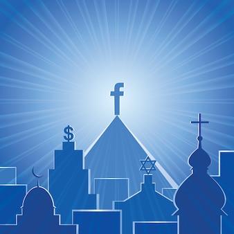 Ilustração conceitual de nova religião vetorial