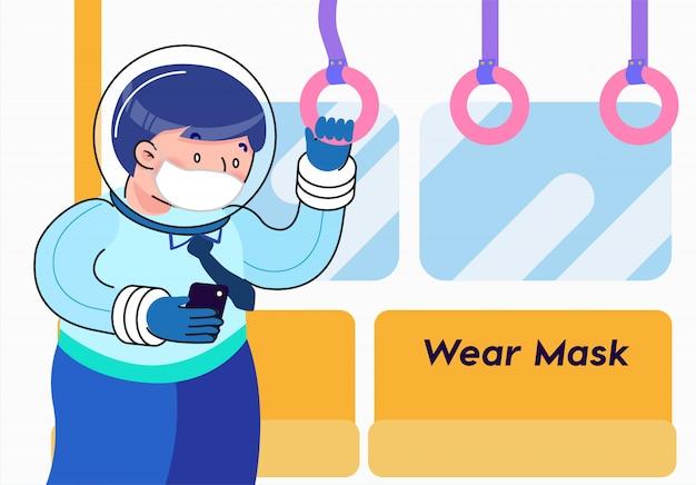 Ilustração conceitual de proteção anti-vírus de máscara de desgaste
