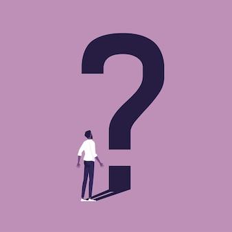 Ilustração conceitual de um empresário pensando no problema com o ponto de interrogação como sua sombra