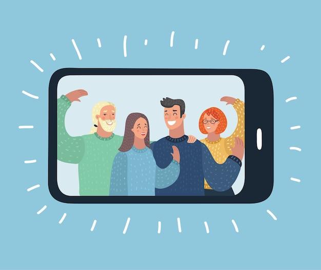 Ilustração conceitual do conteúdo viral. curtidas, compartilhamentos e comentários aparecendo na tela do celular. conteúdo de vídeo para a geração do milênio. ilustração editável, clip-art