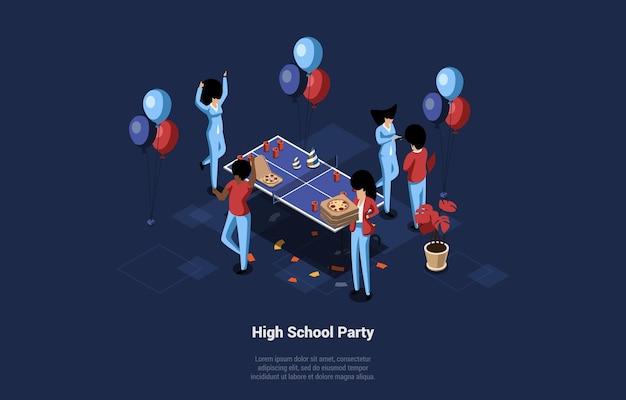 Ilustração conceitual, noite de festa do ensino médio. grupo de pessoas comemorando com pizza, balões e pingue-pongue