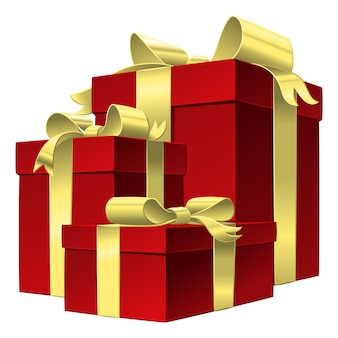 Ilustração conjunto caixa de presente vermelha com laço de fita de ouro