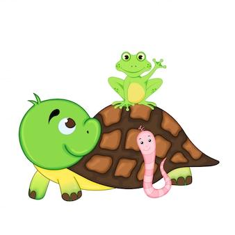Ilustração conjunto de animais exóticos engraçados