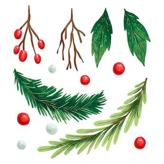 Ilustração conjunto de ano novo com folhas de azevinho, bagas vermelhas e brancas, galhos de natal, um galho de um designer de árvore de natal