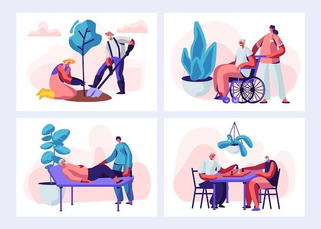 Ilustração conjunto de atividades e estilo de vida de pessoas sênior.