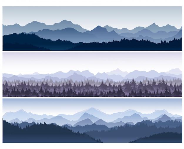 Ilustração conjunto de fundos horizontais com montanhas natureza selvagem com floresta na névoa da manhã.