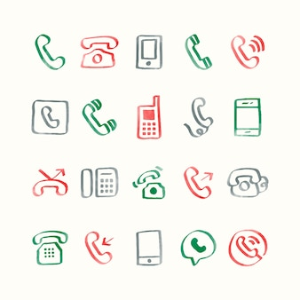 Ilustração conjunto de ícones do telefone