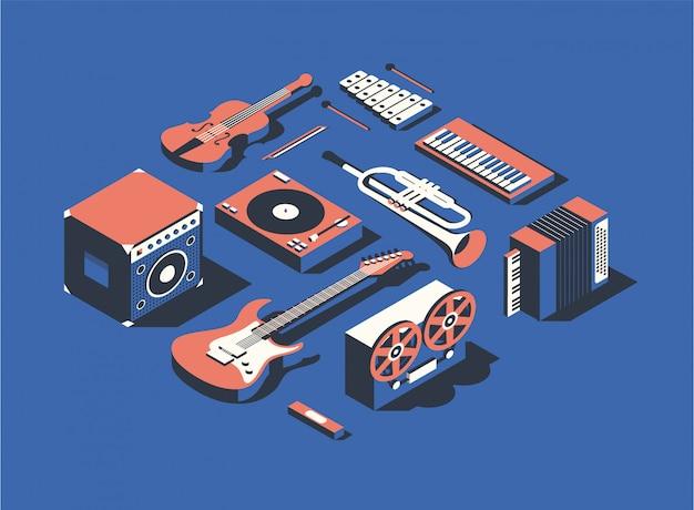 Ilustração, conjunto de ícones isométricos, coleção de instrumentos musicais
