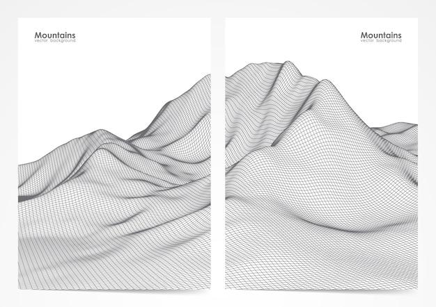 Ilustração: conjunto de layout de dois cartazes com paisagem de montanhas em wireframe.