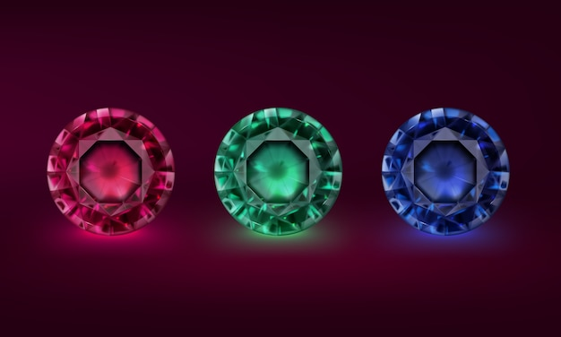 Ilustração conjunto de pedras preciosas de cores diferentes