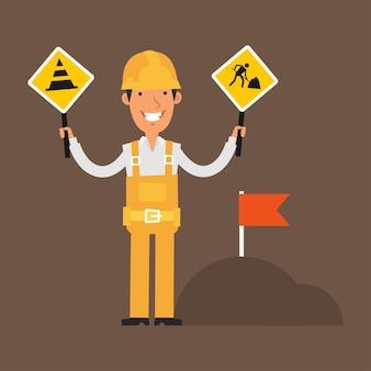 Ilustração, construtor segurando cartazes de proibição e sorrindo, formato eps 10