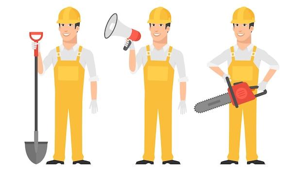 Ilustração, construtor segurando uma pá, megafone, motosserra, formato eps 10