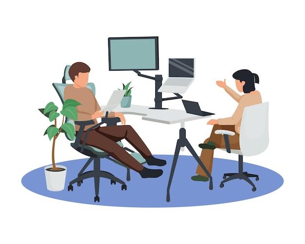 Ilustração contemporânea da composição plana do espaço de trabalho com computadores em suportes de mesa e pessoas sentadas em cadeiras ajustáveis.