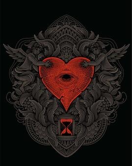 Ilustração coração olhos com gravura ornamento