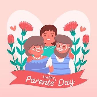 Ilustração coreana desenhada à mão para o dia dos pais