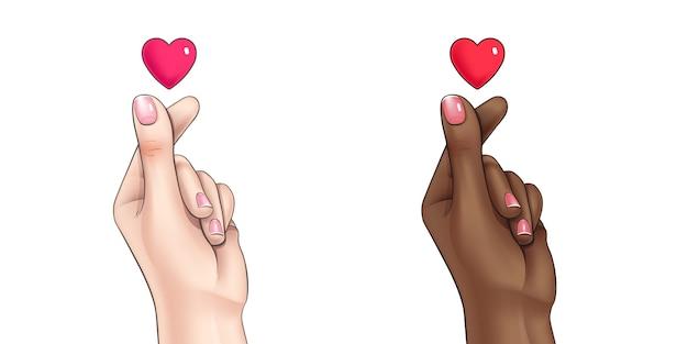 Ilustração coreana do símbolo da forma de coração de dedo