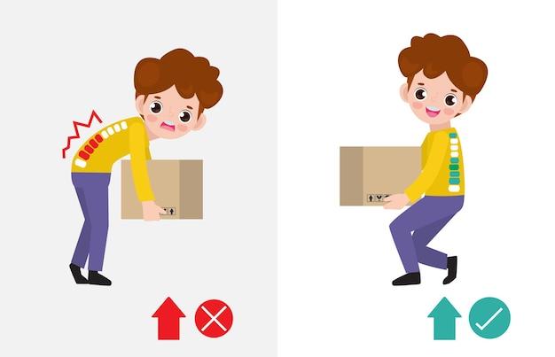 Ilustração correta da postura de levantamento. homem levanta posição errada e certa