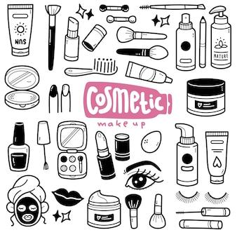 Ilustração cosmética de doodle em preto e branco
