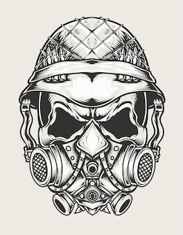 Ilustração crânio exército cabeça