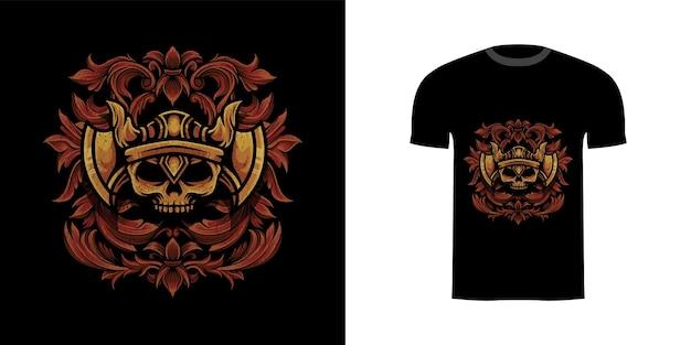 Ilustração crânio viking com gravura ornamento para design de camiseta