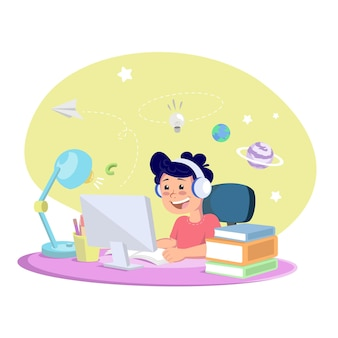 Ilustração crianças aprendendo online