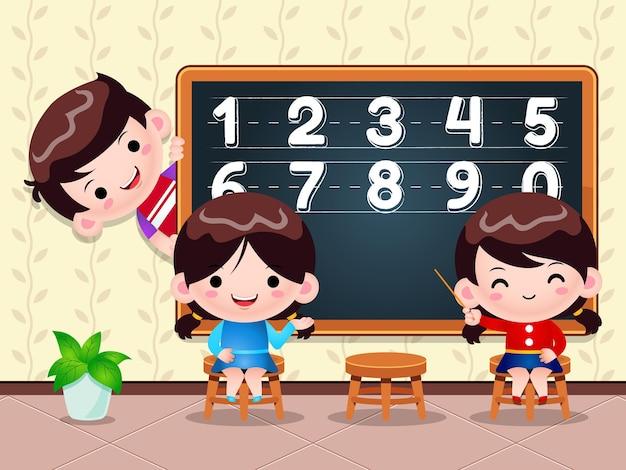 Ilustração crianças ensinando e aprendendo número na frente do quadro de giz