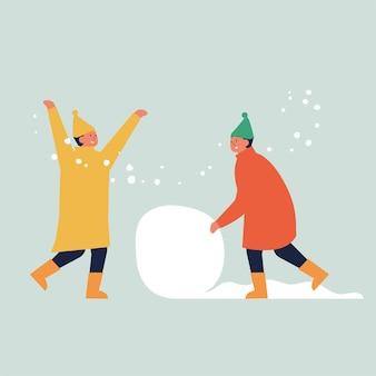 Ilustração crianças fazem um boneco de neve.