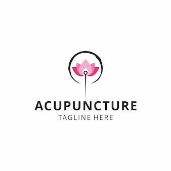 Ilustração criativa acupuntura com design de logotipo de flor de lótus sinal vetorial