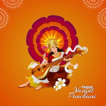 Ilustração criativa da deusa saraswati feliz vasant panchami